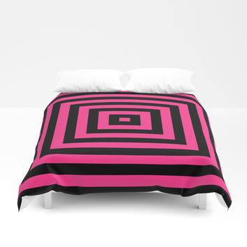 GRAPHIC GRID BOX SWIRL ABSTRACT DESIGN (BLACK AND HOT PINK) SERIES 6 OF 6 Duvet Cover by AEJ Design