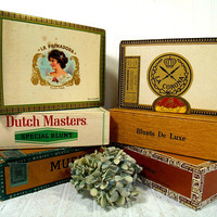 Vintage Cigar Boxes Set of 6 Assorted with Ornate Graphics Cigar Boxes Collection - Boxes for Display Art Projects or Storage Organization