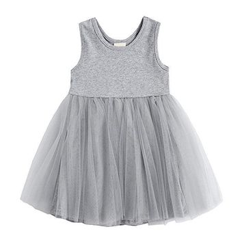 Toddler Kids Baby Girls Dress Princess Party Pageant Wedding Sleeveless Lace Tulle Tutu Flower Dresses