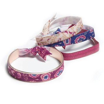 Rose Paisley Hair Tie Bracelet with Hair Ties by Banded