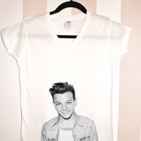 Louis Tomlinson One Direction V-Neck Shirt Zayn Malik Nialler Niall Horan Liam Harry Styles 1D Hipster #36
