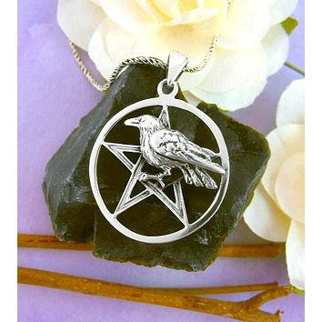 Dramatic Raven Pentacle Necklace