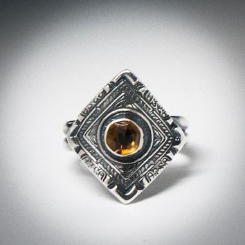 Chinese Dynasty Coin Diamond Shaped Ring | Citrine Stone