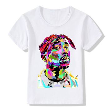Children Tupac 2pac Printing T-shirts Kids Hip Hop Swag T shirts Girl and Boy 2pac Baby Tops Tee Tshirt,HKP287