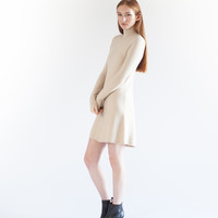 Lola Mock-Neck Ribbed Dress (Beige)