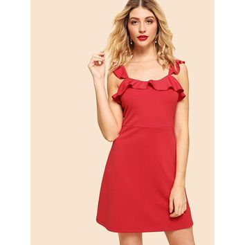 Red Straps Sleeveless Fit And Flare Party Dress