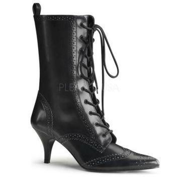 Pleaser Female 2 3/4 Inch Heel, Wingtip Lace-Up Mid Calf Oxford Boot FURY100