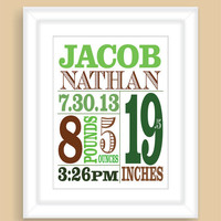 Printable DIY Baby Birth Stats 8x10 Newborn BOY Wall Art Print Nursery Gift - PDF File