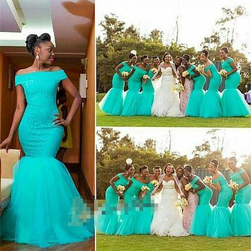 2017 FASHION AQUA / TEAL / TURQUOISE MERMAID BRIDESMAID DRESSES OFF SHOULDER LONG RUCHED TULLE VESTIDO DAMA DE HONRA ADULTO