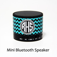 Blue Chevron Custom Monogram Wireless Bluetooth Mini Speaker