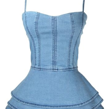 Off Shoulder Denim Casual Ruffles Sleeveless Camis Blouse