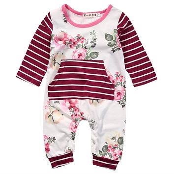 Baby Girl Floral and Stripes Jumpsuit