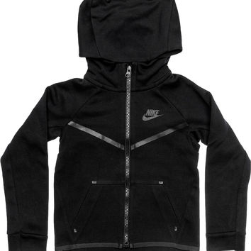 NIKE SPORTSWEAR TECH FLEECE PRESCHOOL HOODIE (BLACK)