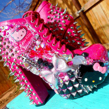 Hello Kitty Spiked Glitter Custom Boots Heels