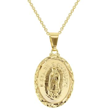 Religious Oval Medal Virgin of Guadalupe Pendant Necklace 19""