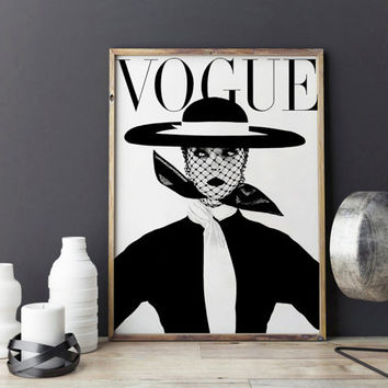 VOGUE WALL ART.Vogue Print,Vogue Cover,Vogue Magazine,Fashion Illustration,Fashionista,Modern Office Decor,Vogue Pattern,fashion Decor