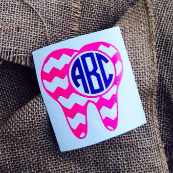 Tooth Monogram car decal initials chevron monogram border chevron sticker car monogram sticker chevron monogram car decal dental gift tooth
