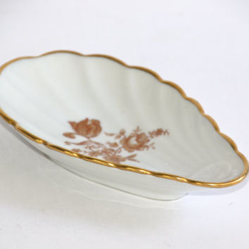 Limoges Shell Dish / Gold Roses Transfer / Home Decor