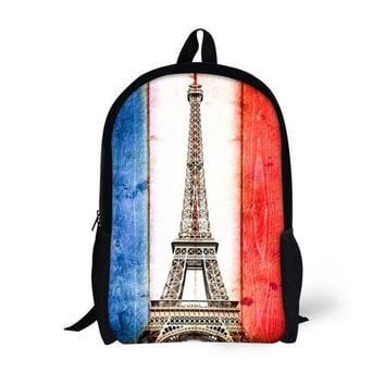 Boys bookbag trendy Noisy Designs Bag Eiffel Tower Backpack For Teenager Boys Girls s Printed Men's Schoolbag for Kids Personality Designs AT_51_3