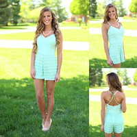 Jagged Edges Romper in Mint