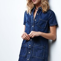 Renamed Short Sleeve Denim Dress - Womens Dress - Blue