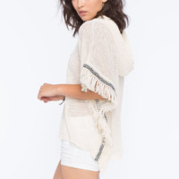 Lily White Fringe Womens Hooded Poncho Cream  In Sizes