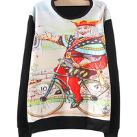 Black Biking Spade King Printed Sweatshirt