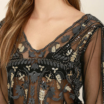 Best For Last Sheer Black Beaded Crop Top