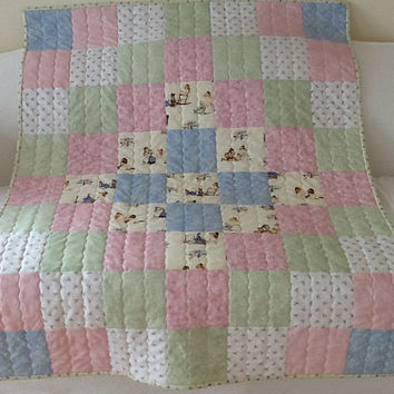 A Is For Annabelle, Tasha Tudor, Handmade Quilt, Lap Quilt, Throw, Handemade Quilt 42 x 53 inches Free Shipping Canada and USA
