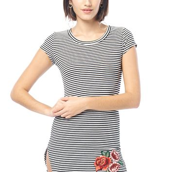 Floral Embroidery Striped Dolphin Dress