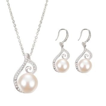 Sliver plated Rhinestone Simulated Pearl necklace earrings wedding banquet package jewelry sets Bride gift