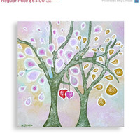 Original Acrylic Painting - Abstract Trees Red Hearts Love Art - Romantic Valentine Decor Wedding Gift 12x12x1.5