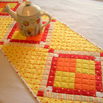 Bright Cheerful Table Runner Yellow Orange Red White Quilted Handmade