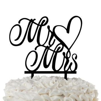 Mr & Mrs Acrylic Wedding Cake Topper - Cursive Heart