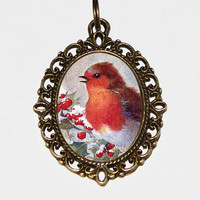 Christmas Robin Necklace, Christmas Jewelry, Robin Bird, Bird Jewelry, Robins, Christmas Holly, Oval Pendant