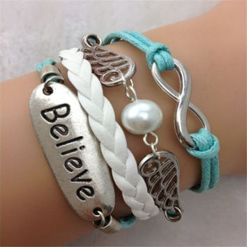 Hot Style Angel Wings Wax Line Fashion Bracelet