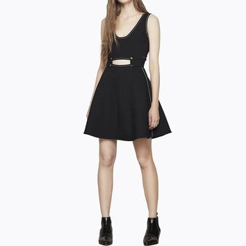 Summer western style fashion solid color sleeveless V-neck backless hollow out woman's Casual a-line dress
