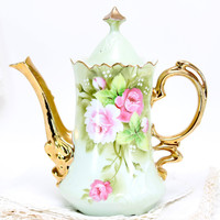Lefton Heritage Teapot, Collectible Japanese Chocolate Pot, Coffee Pot or Tea Pot. Made in Japan.
