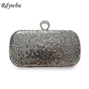Rdywbu Luxury Glitter Sparkling Sequins Evening Bag Fashion Finger Ring Clutches Beaded Wedding Purse Party Shoulder Bag B544