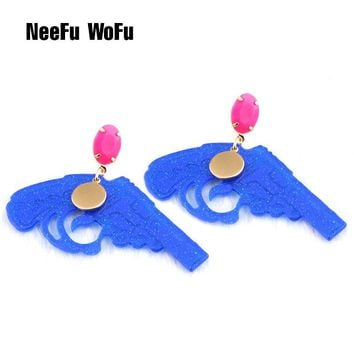 NeeFu WoFu Drop Crystal Earrings Resin Earring Carved PatterBand Big Earring For Woman Large Long Brinco Ear Oorbellen Gift