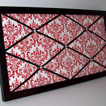 Red & White Damask Print fabric ~ Black Wood Framed Memo Board by ToileChicBoutique