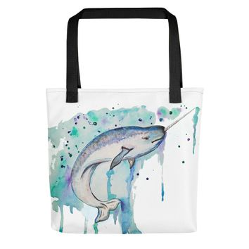The Real Unicorn- Narwhal Whale Tote bag