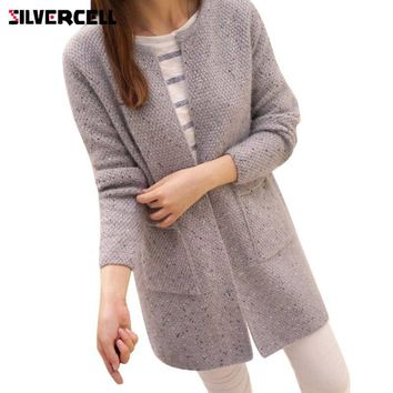 SILVERCELL Winter Women Casual Long Sleeve Knitted Cardigans Autumn Crochet Ladies Sweaters Tricotado Cardigan