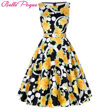 Belle Poque Print Floral 50s 60s Vintage Dresses Audrey Hepburn 2017 New style Summer Retro Dress Vestidos robe Womens Clothing