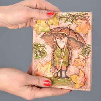 Ceramic Panel Handmade Eco friendly Home decor Hedgehog with Umbrella in October