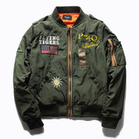 Ma1 Bomber Jacket Men Thick Flying Tigers Embroidered Badge Jacket for Pilot Flight Jacket Homme Baseball Military Coats