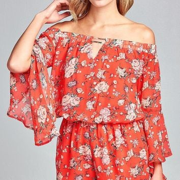 Bell Sleeve Yellow Floral Romper