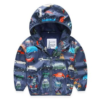 Autumn Hooded Printed Car Baby Boys Outerwear