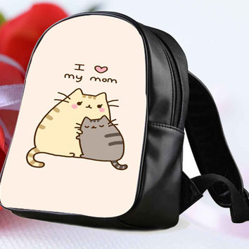 Pusheen The Cat I Love My Mom for Backpack / Custom Bag / School Bag / Children Bag / Custom School Bag **
