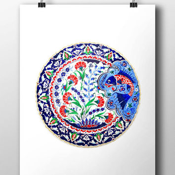 Turkish Fish Art Watercolor Print Ottoman Digital Print Carnation Wall Art Traditional Wall Decor Wall Hanging